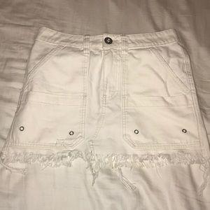 White blue jean skirt